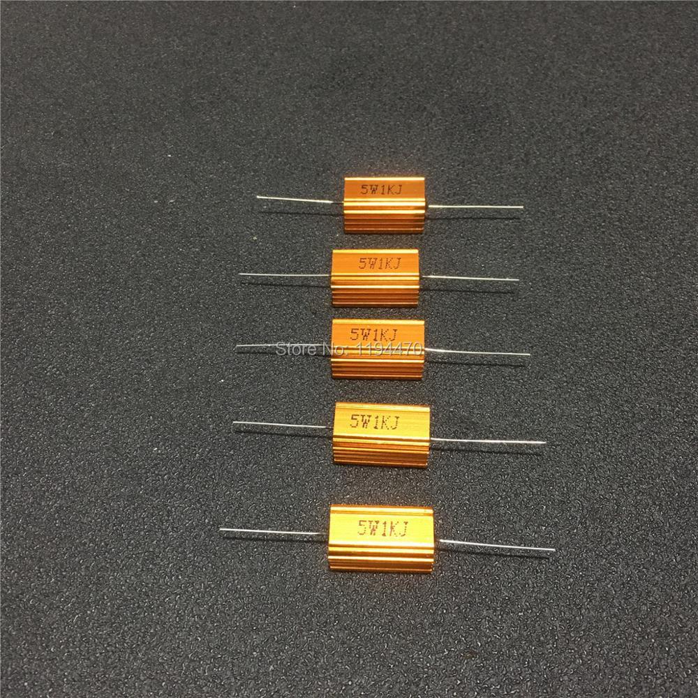 5 шт./лот RX24 5W 200R 220R 300R 500R 1K 5K 10K Ohm Золотой металлический корпус мощный проволочный резистор алюминиевый корпус 5% класс J