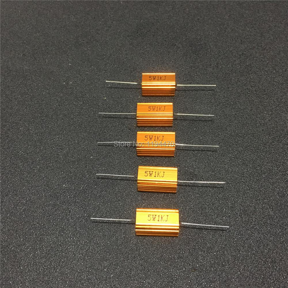 5pcs/Lot RX24 5W 2R 3R 4R 5R 5.6R 6R 8R 10R 15R Ohm Golden Metal Shell Case Power Wirewound Resistor Aluminum Housing 5% Class J