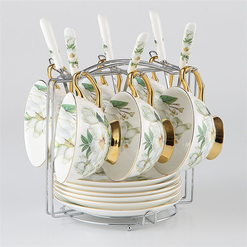 Yolife Camellia Bone China Coffee Set British Porcelain Tea Set Ceramic Pot Teatime Teapot Coffee Cup Mug