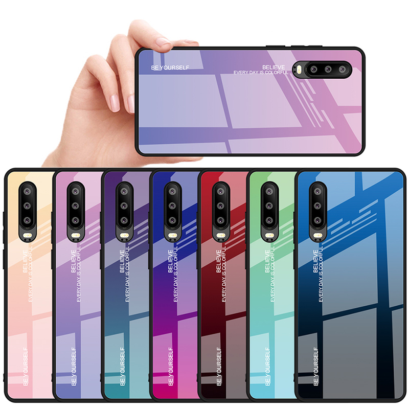 Gradient Rainbow <font><b>Phone</b></font> <font><b>Case</b></font> for Huawei <font><b>P30</b></font> Pro P Smart 2019 Stained Tempered Glass <font><b>Case</b></font> for Huawei P20 Lite Nova 4 4E 3 3i 3E image