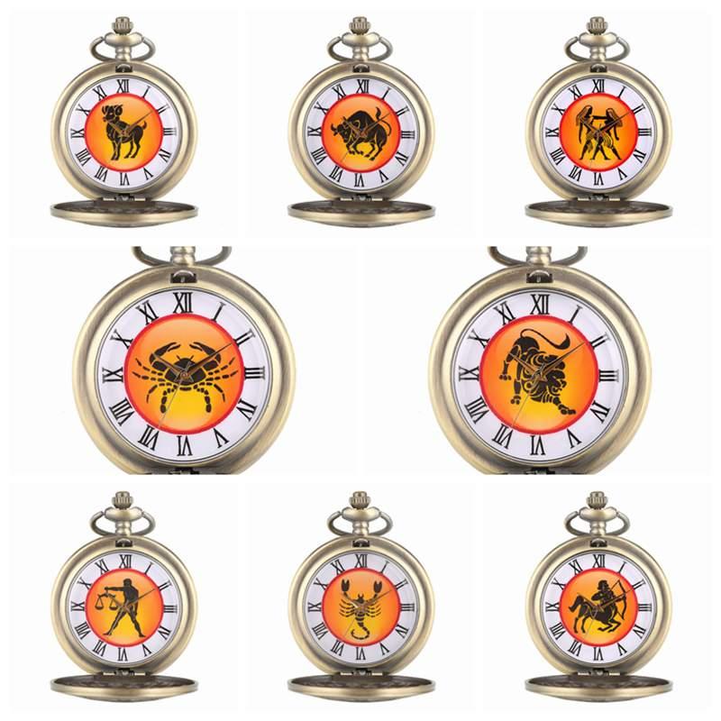 Libra Scorpio Sagittarius  Aries Taurus Gemini Cancer Leo Virgo Capricorn Aquarius Pisces Necklace Pendant Quartz Pocket Watches