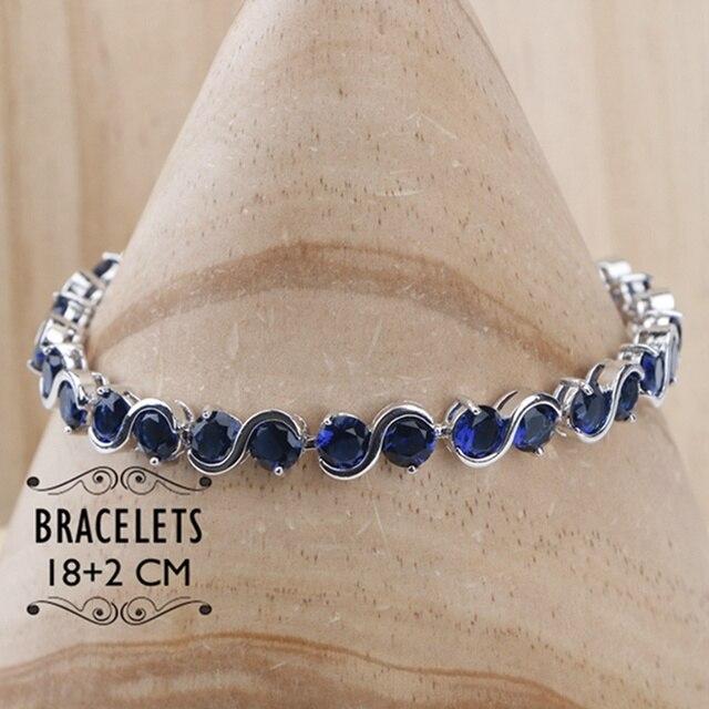 Damskie srebro 925 zestawy biżuterii dla kobiet 2018 niebieska cyrkonia sześcienna pierścionki/bransoletki/kolczyki/naszyjnik zestaw darmowe pudełko