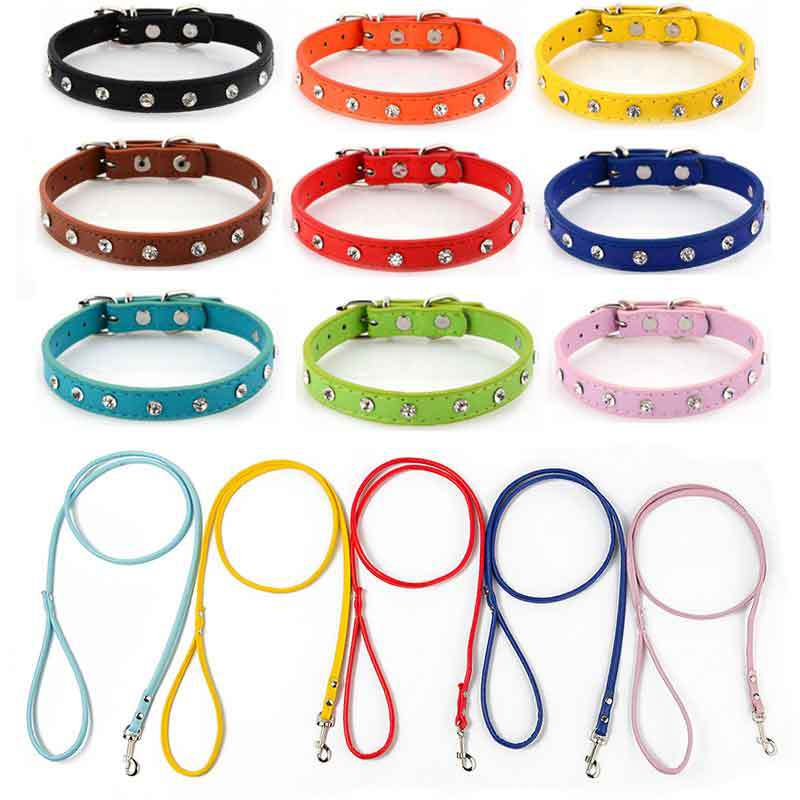 Pet Dog PU Leather Hand Holding Rope Man-made Diamond Pu Neck Ring Solid Color Teddy Bichon Small Dogs Universal Soft