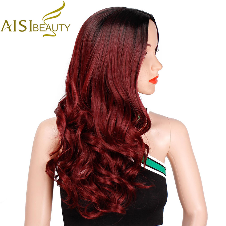 AISI BEAUTY Ombre Long Wavy Red Wig Synthetic Wigs For Women Black Blonde Grey Wig Cosplay Female Party
