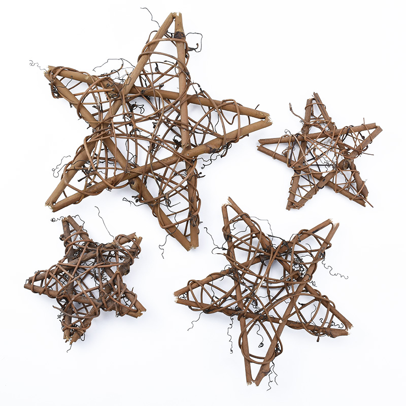 10cm/20cm Dried Rattan Star Frame Artificial Flower Wedding Wreath Christmas Decoration For Home DIY Handmade Door Hanging Decor