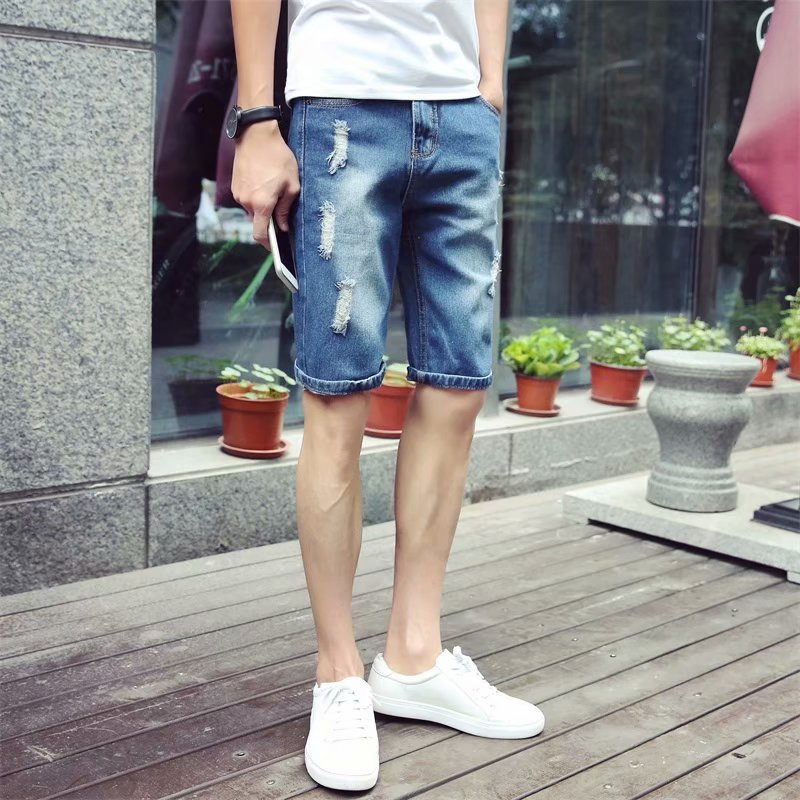 Washing Retro Workwear Denim Shorts Men's Loose-Fit Casual Korean-style Summer Trend MEN'S Fifth Pants Hip Hop Popular Brand