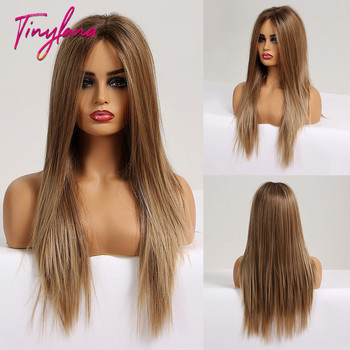 TINY LANA ombre synthetic wig Brown Blonde Lace Front Wig Gluless  Heat Resistant  Cosplay Wigs for  African American wigs wignee 3 tone ombre women wig black to brown blonde middle part heat resistant synthetic wigs cosplay hair for african american
