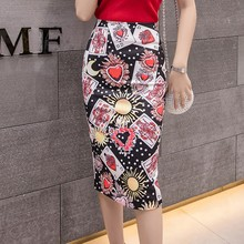 Hearts Poker Print Slit Mid-Calf Midi Skirt Women Casual High Waist Pencil Skirts Female Pencil Print Mid-Calf Empire Waistline mid calf flower print straight womens pants