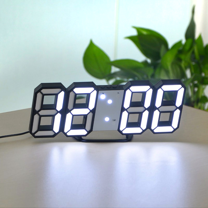 LED Alarm Clock USB Charge 3D Electronic Automatic Induction Digital Clocks Wall Horloge Home Decoration Office Table Desk Clock image