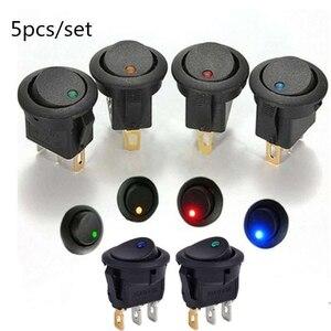 5pcs/set ON/OFF 12V Round Rocker Dot Boat Switch Waterproof LED Light Luminescence Toggle Switches(China)