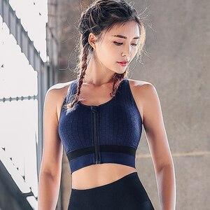 women Sports Bra padded high impact zipper front fitness Gym Running