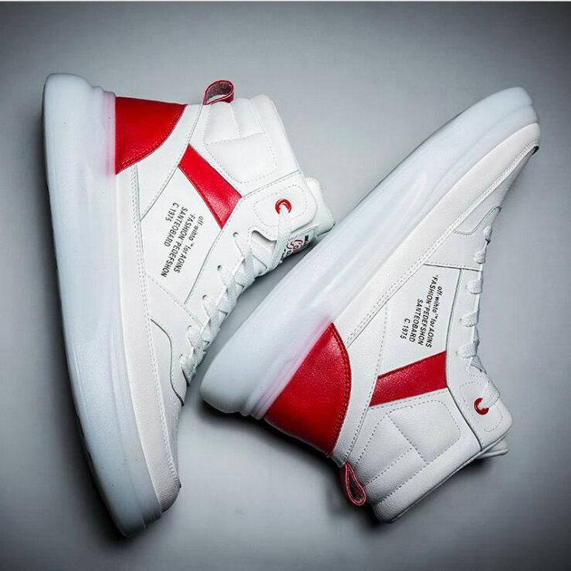 Мужские кроссовки дышащие белые туфли мужская кожаная обувь кроссовки Chaussure высокие кроссовки мужская повседневная обувь A54 44 на шнуров... - 3