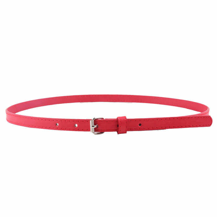 Women Girl Fashion Belt Belt Colorful Faux Leather Narrow Thin Color Clothing Waist Accessories Decoration #YL10