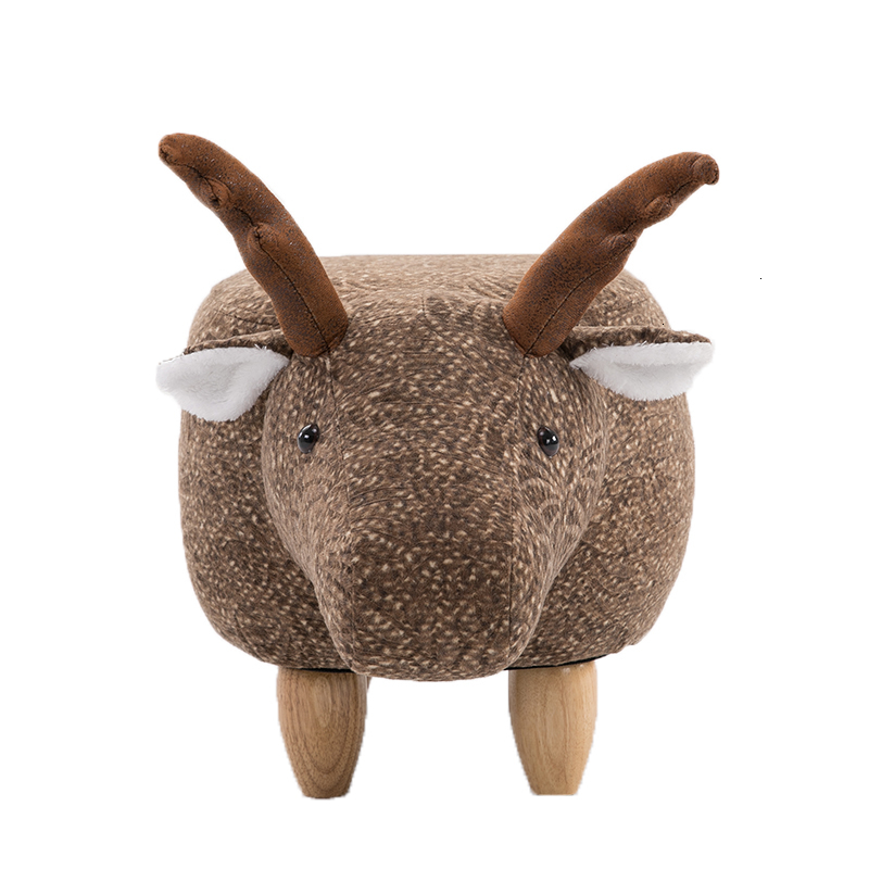 Northern Europe Changing Shoes Stool Solid Wood Fawn Animal Changing Shoes Stool Storage Stool Low Stool Sofa Bench Test Shoes