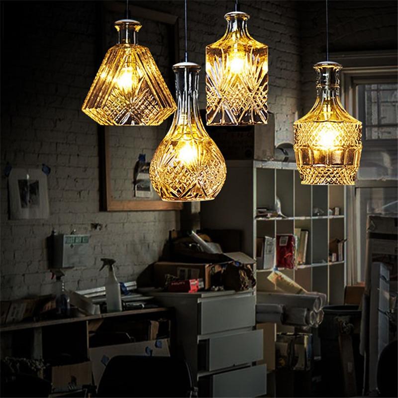 Nordic Glass Bottle Pendant Lights Lamp LED Pendant Lighting Living Room Bar Dining Room Bedroom Loft Art Deco Hanging Lamp in Pendant Lights from Lights Lighting