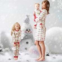 2019 new Christmas parent-child costume lights printing Europe and the United States autumn