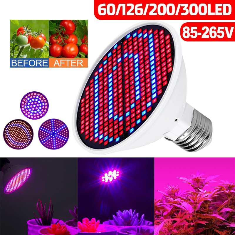 60/126/200/300leds E27 LED Grow Lamp Full Spectrum LED Plant Growth Lamp Indoor Lighting Grow Light Plant E27 Hydroponic System