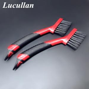 Image 2 - Lucullan ergonomicznie antypoślizgowe gumowy uchwyt Auto Detail pędzle do wykończenia, skóra, rowków, wnętrze narzędzia do czyszczenia