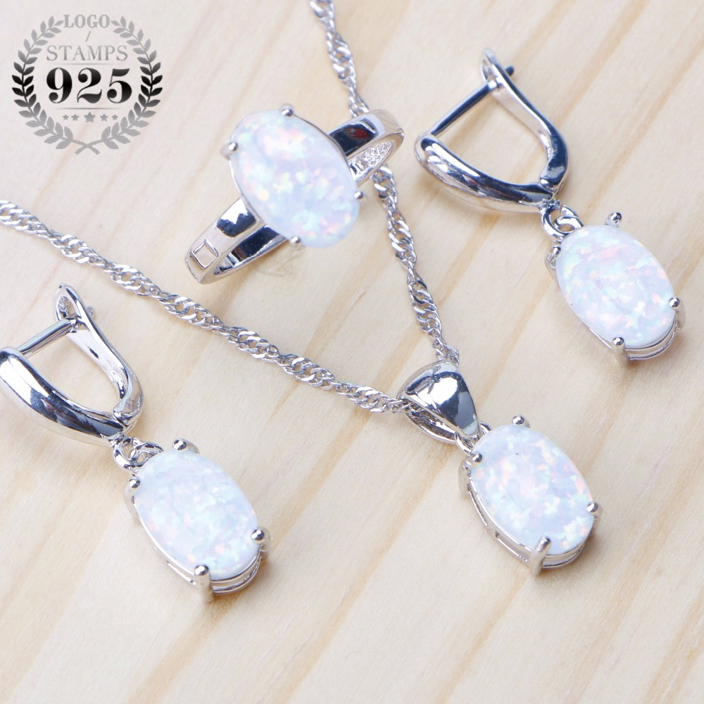 925 Sterling Silver Opal Stone Wedding Bridal Jewelry Sets Earrings For Women Costume Jewelry Pendant Necklace Ring Set Gift Box
