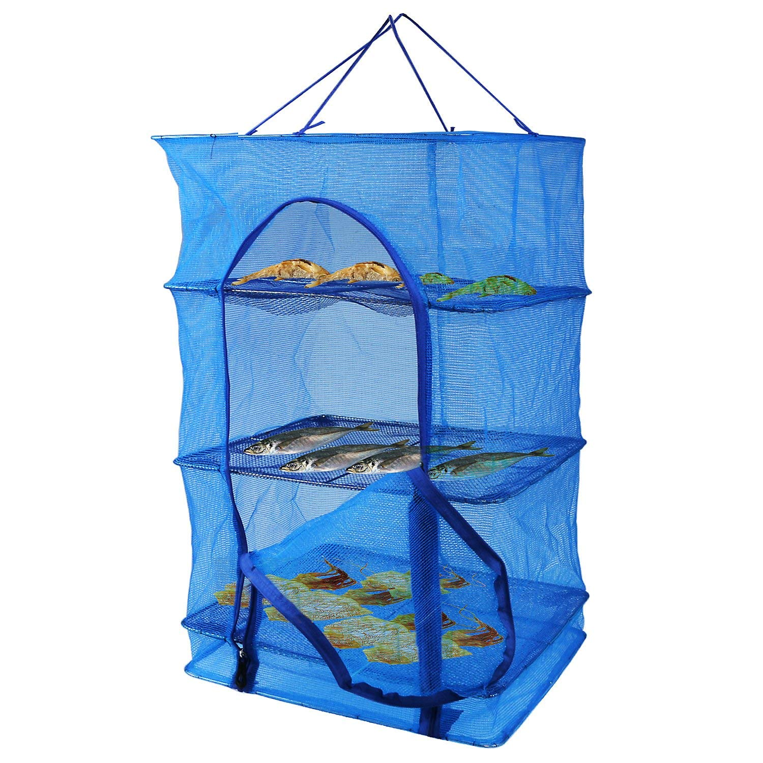 Fish Mesh Hanging Drying Net Food Dehydrator Durable Folding 4 Layers Fish Vegetable Dishes Dryer Net Drying Rack