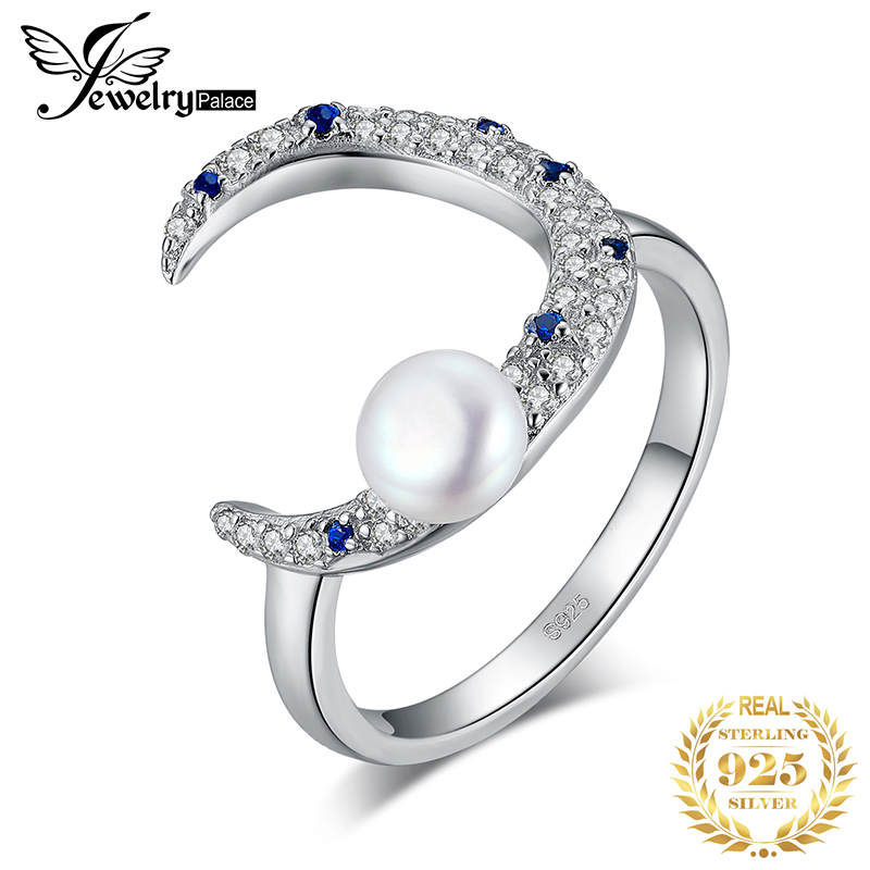 JewelryPalace Half Moon Created Blue Sapphire Pearl Ring 925 Sterling Silver Rings For Women Stackable Ring Silver 925 Jewelry