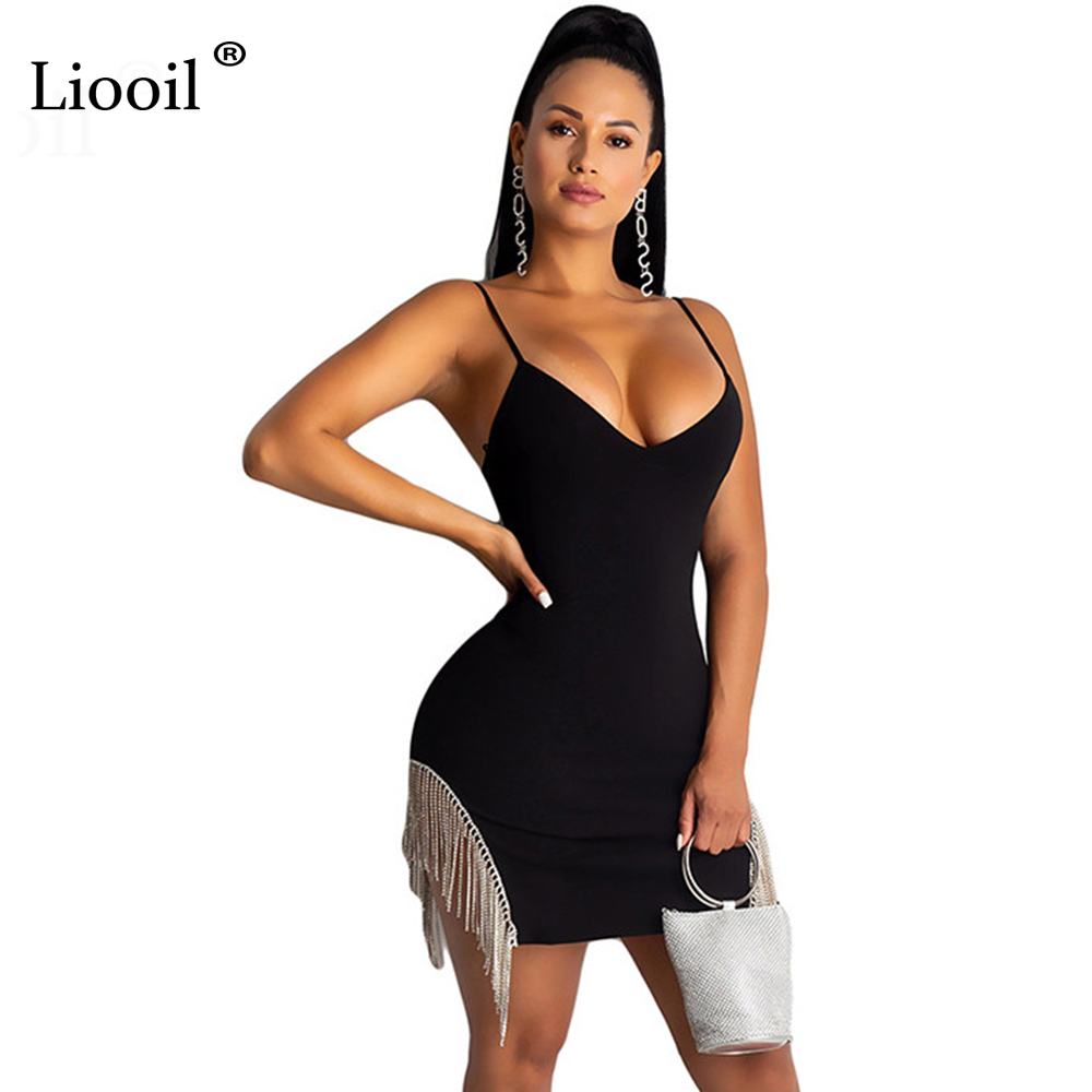 Liooil Tassel Bodycon Mini <font><b>Dress</b></font> Women Autumn Sleeveless V Neck High Waist Black <font><b>White</b></font> <font><b>Sexy</b></font> <font><b>Dresses</b></font> Party Night Club <font><b>Dress</b></font> 2019 image