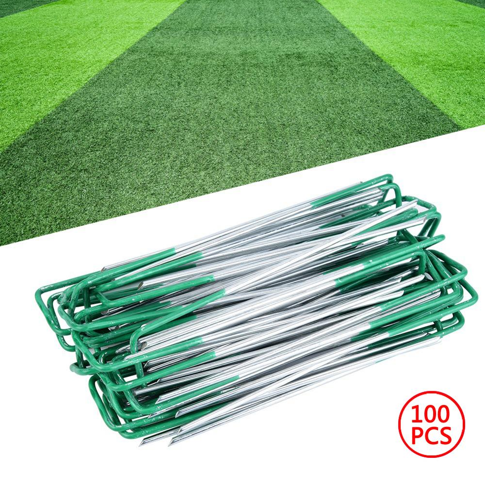 100Pcs Garden Galvanized Steel Pile U - Shaped Nails Artificial Turf Playground Lawn Weed Plant Landscape Grid Floor Nail