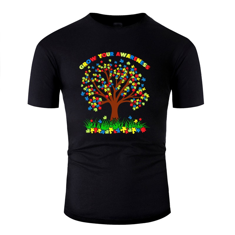 Printing Autism Awareness Gift Puzzle Tree Support Funny Tshirt Man Men's Tshirts Homme Short-Sleeve Camisas Shirt