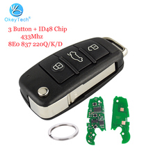 OkeyTech for Audi A3 A4 A6 TT Car Key 3 Button Remote Smart Flip Replacement Key ID48 Chip Ring HAA HU66 Blade 8E0 837 220Q/K/D