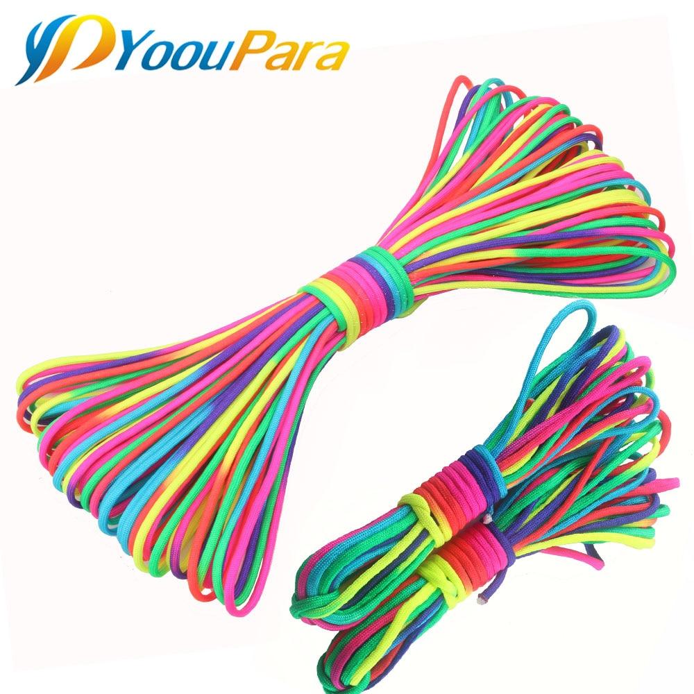 8-100 Metros 550 Paracord Parachute Cord Cordão Corda Tenda Guyline Rainbow 7 Strand paracord Mil Spec Para Caminhadas cabo de campismo