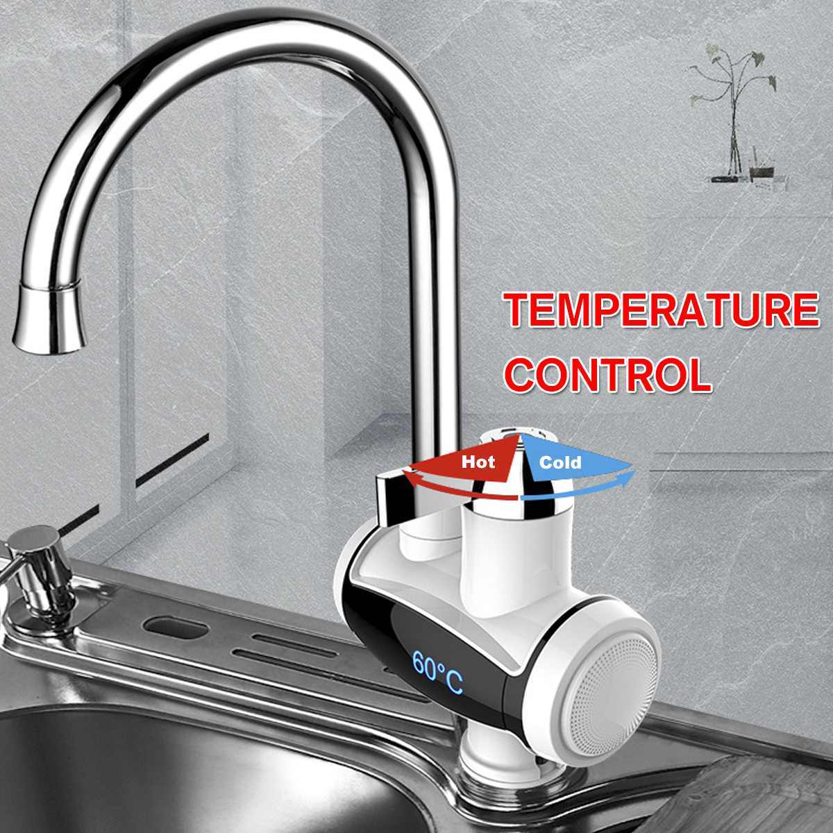 Chauffe-eau électrique instantané sans réservoir robinet cuisine 360 ° rotatif chauffage robinet chauffe-eau avec affichage de la température de LED