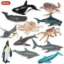 Oenux pequeno oceano marinho modelo vida marinha animal baleia tubarão caranguejo tartaruga figuras de ação pvc brinquedo educativo para crianças presente