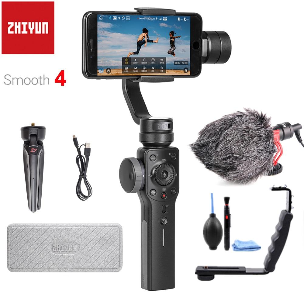 Zhiyun Suave 4 3 ejes estabilizador cardán de mano para iPhone X Samsung con bolsa portátil PK DJI OSMO Mobile 2