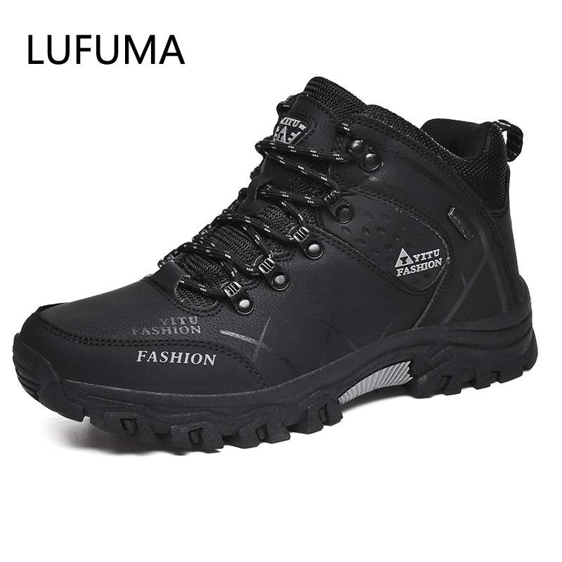 Winter Leather Ankle Boots Men Casual Shoes Outdoor Waterproof Work Tooling Mens Hiking Boots Sneakers Warm Military Snow Boots