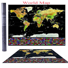 Scratch Off Journal World Map Travel Atlas Poster with Country Flags 42*30CM for Home Decoration Wall Sticker