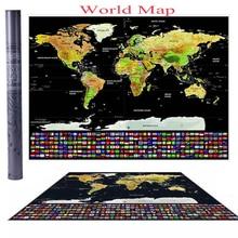 Сотрите журнал карта мира Атлас путешествий плакат с флагами стран 42*30СМ для домашнего украшения стикер стены