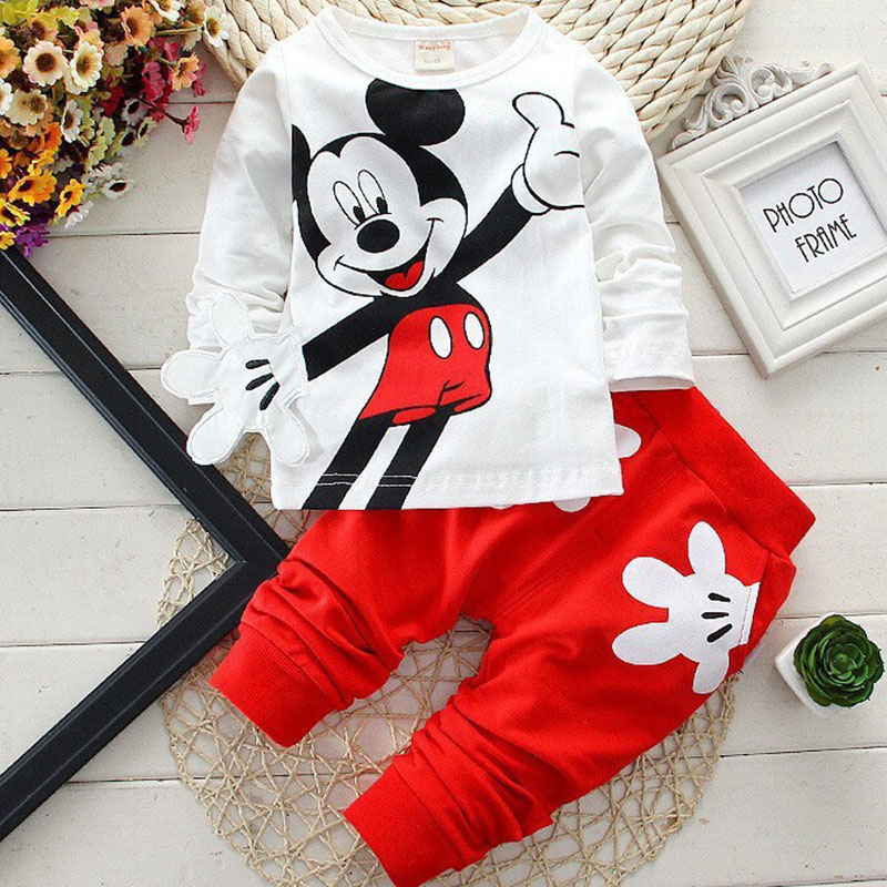 Baby Girl Sport Suit Kids Cartoon Sport Tops Pants Clothing Sets Toddler Outfits