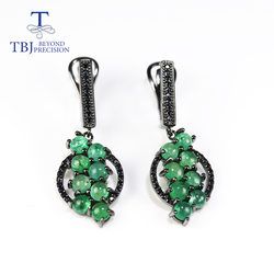 TBJ,Natural Zambia Emerald clasp earring Round 4mm 4ct real gemstone fine jewelry 925 sterling silver for women nice gift