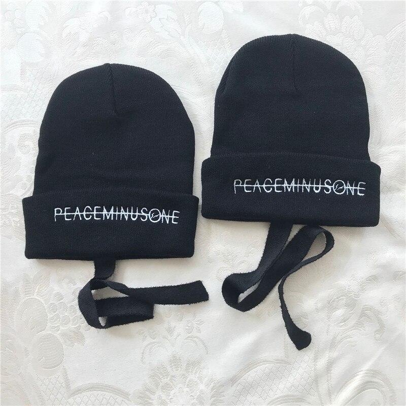 Kpop Bigbang G-Dragon Kwon Ji Young Peaceminusone Embroidery Skullies Beanies Unisex Hat  Hip Hop Winter Cap