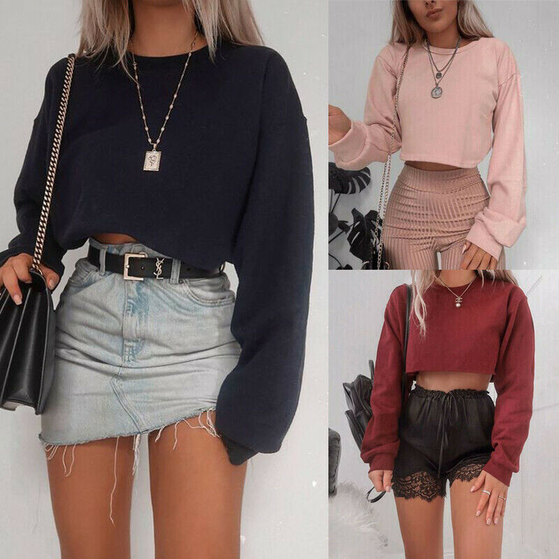 Women's Jumper Sweater Crop Top Coat Sports Pullover Tops