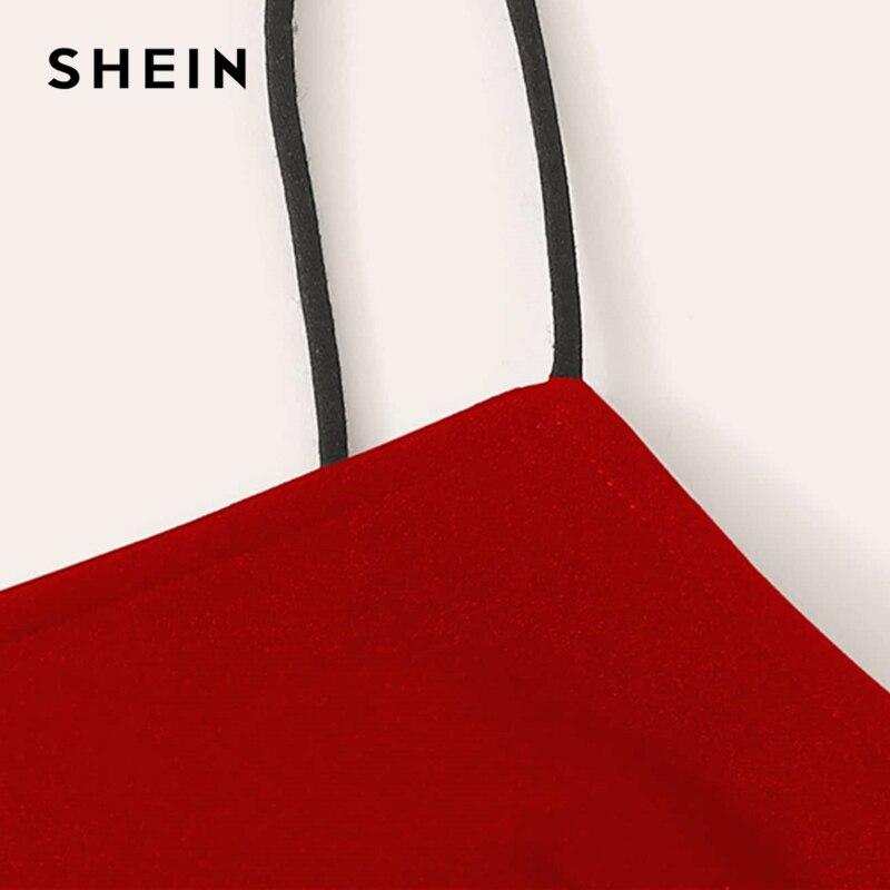 Image 4 - طقم مكون من بلوزة قصيرة وتنورة من SHEIN بقطع على شكل حرف V مثيرة ومزينة بحزام سباغيتي صيفي بدون أكمام طقم مكون من قطعتين-في مجموعات نسائية من ملابس نسائية على AliExpress