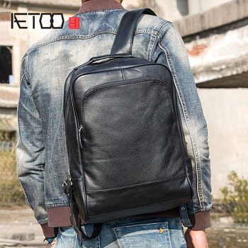 AETOO The first layer of leather shoulder bag men's bag backpack leather bag travel bag men's business large capacity casual aetoo new leather leather korean version of the wave of shoulder bags simple leisure travel bag backpack