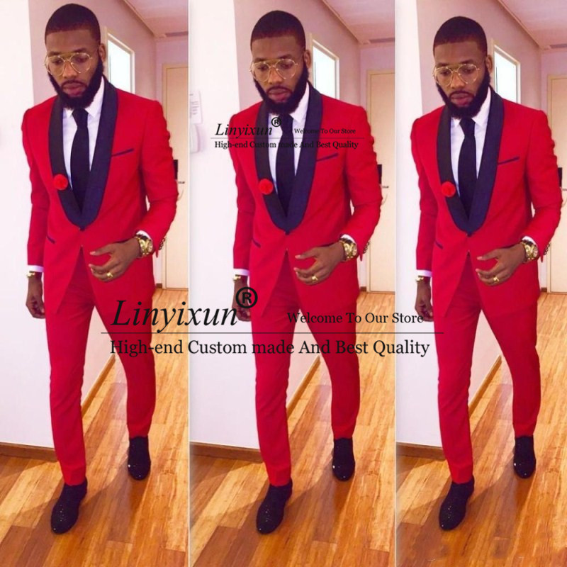 High Quality One Button Red Groom Tuxedos Groomsmen Shawl Lapel Best Man Blazer Mens Wedding Suits (Jacket+Pants)
