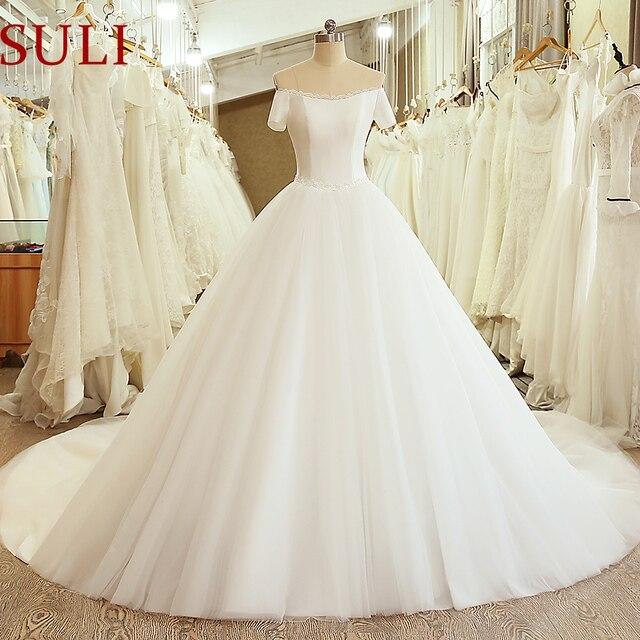 SL 5054 księżniczka próbka suknia ślubna gorset suknia z ramienia z krótkim rękawem koronkowy pas tanie suknia ślubna chiny