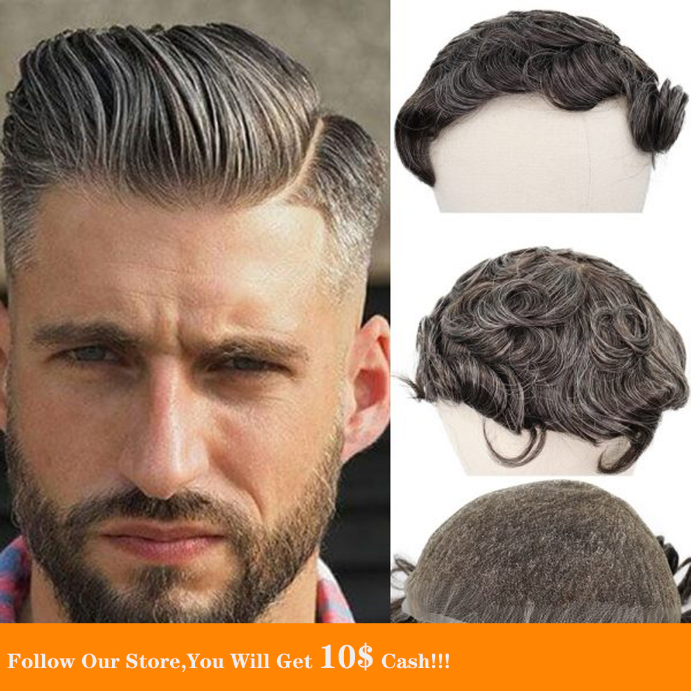 BYMC Mens Toupee Mono Toupee Human Hair Natural Hairline Full Lace Replacement System With 40% Gery Clipscorta pelo hombre