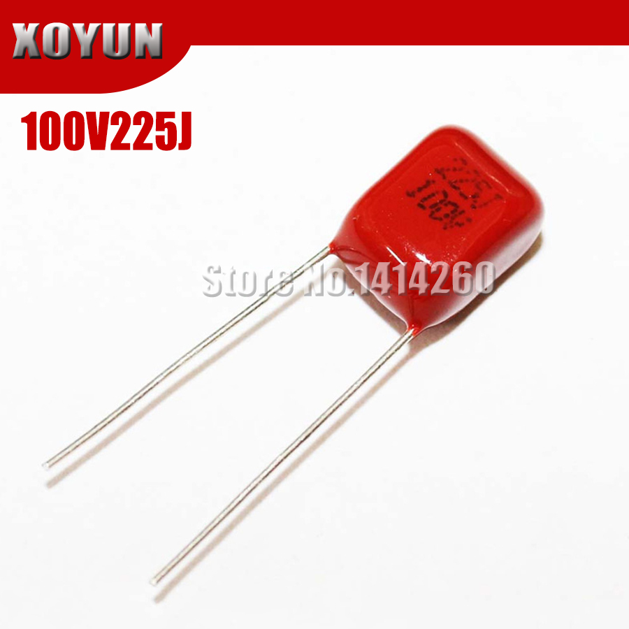 10PCS 100V225J 100V2.2UF Pitch 7.5mm 225J 100V CBB Polypropylene Film Capacitor