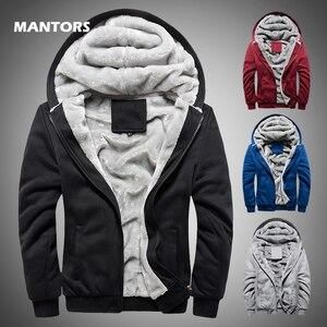 Image 1 - Kış erkek kalınlaşmak polar Hoodies sıcak tişörtü katı spor fermuarlı kapüşonlu kıyafet erkekler kapşonlu dış giyim rahat rüzgarlık Tops