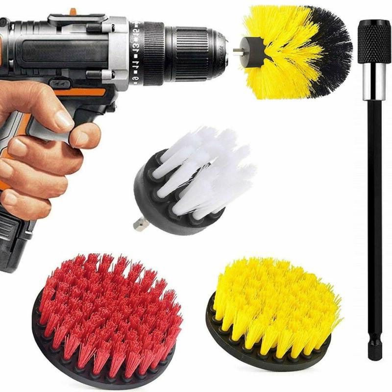 5Pcs/set Electric Drill Brush+Extension Rod Power Scrubber Brushes Cleaning Kit
