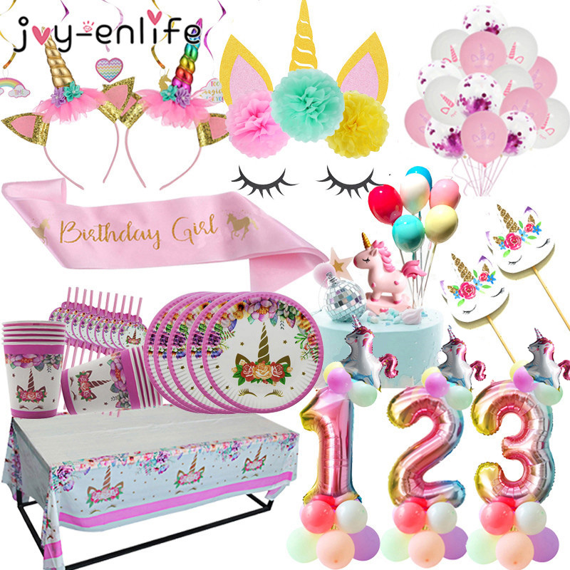 1set Unicorn Theme Party Disposable Tableware Kits Kids Birthday Paper Plates Baby Shower Tablecloth Unicorn Party Cake Toppers