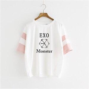Женские хлопковые футболки EXO, летние футболки с монстра, в стиле хип-хоп, с коротким рукавом, в Корейском стиле